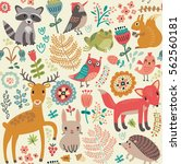 forest animals and plants.... | Shutterstock .eps vector #562560181