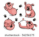 Little puppy in different poses - stock photo