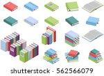 isometric books set. vector... | Shutterstock .eps vector #562566079
