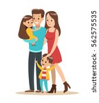 happy family with father ... | Shutterstock .eps vector #562575535
