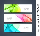 abstract colorful wavy headers | Shutterstock .eps vector #562585411