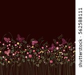 seamless floral border with... | Shutterstock .eps vector #562588111
