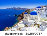 beautiful oia town on santorini ... | Shutterstock . vector #562590757