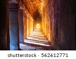 the monks in angkor wat  siam... | Shutterstock . vector #562612771
