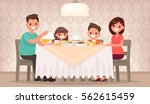 family meal. father mother  son ... | Shutterstock .eps vector #562615459