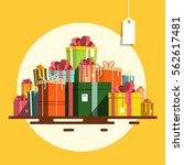 gift box. vector flat design... | Shutterstock .eps vector #562617481