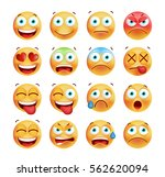 set of cute emoticons on white... | Shutterstock .eps vector #562620094