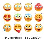 set of cute emoticons on white... | Shutterstock .eps vector #562620109
