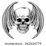 a winged skull bat or dragon... | Shutterstock .eps vector #562634779