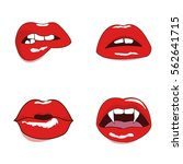 woman red lips set. mouth kiss  ... | Shutterstock .eps vector #562641715