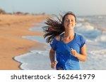 running woman. female runner...   Shutterstock . vector #562641979