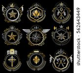 heraldic decorative emblems... | Shutterstock .eps vector #562643449