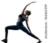 one caucasian woman exercising... | Shutterstock . vector #562661599