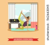 pregnant girl doing morning...   Shutterstock . vector #562663045
