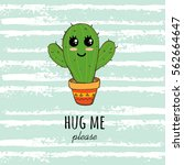 cactus print with texts in... | Shutterstock .eps vector #562664647