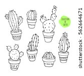 vector collection of cactus.... | Shutterstock .eps vector #562664671