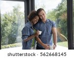 romantic happy young... | Shutterstock . vector #562668145