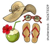 set of summer time vacation... | Shutterstock .eps vector #562673329