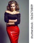 portrait of young pretty model... | Shutterstock . vector #562673809