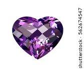 realistic purple amethyst heart ...   Shutterstock .eps vector #562674547