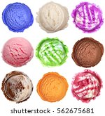 Stock photo colorful ice cream scoops isolated on white background 562675681
