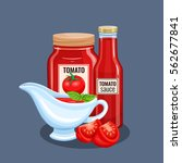 tomato sauce bottle and saucers.... | Shutterstock .eps vector #562677841