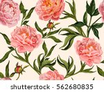 Stock vector beautiful seamless vector floral summer pattern background with hand drawn peony flowers perfect 562680835