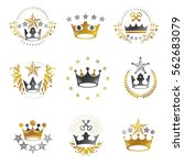royal crowns emblems set.... | Shutterstock .eps vector #562683079