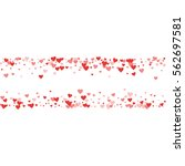 red hearts confetti. chaotic... | Shutterstock .eps vector #562697581