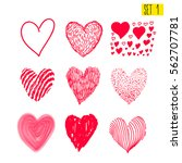 set of hand drawn hearts.... | Shutterstock .eps vector #562707781