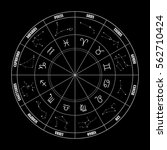 zodiac circle with astrology... | Shutterstock .eps vector #562710424