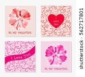 set of romantic greeting cards. ... | Shutterstock .eps vector #562717801