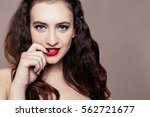 beautiful cute brunette | Shutterstock . vector #562721677