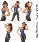 Small photo of Beautiful Gogo Dancer Posing in Latex PVC Vinyl Corset and Shiny Spandex Leggings Isolated One White Background