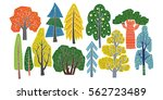 different kinds of trees   hand ... | Shutterstock .eps vector #562723489