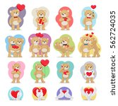 valentines day set. bears and... | Shutterstock .eps vector #562724035