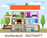 house with rooms   study ... | Shutterstock .eps vector #562724677