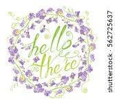 decorative handdrawn floral...   Shutterstock .eps vector #562725637