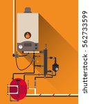 central heating with gas boiler   Shutterstock .eps vector #562733599