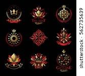 royal symbols  flowers  floral... | Shutterstock .eps vector #562735639