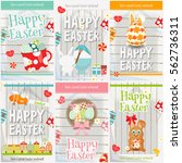 easter cards set. mini posters... | Shutterstock .eps vector #562736311