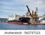 ship docked in port of santos | Shutterstock . vector #562737121