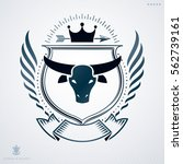 vintage emblem  vector heraldic ... | Shutterstock .eps vector #562739161