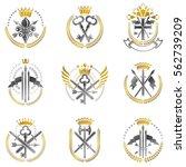 vintage weapon emblems set.... | Shutterstock .eps vector #562739209