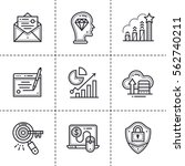 vector set of linear icons for... | Shutterstock .eps vector #562740211