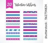 set of valentine seamless... | Shutterstock .eps vector #562754824