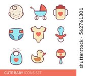 toddler accessories set   color ... | Shutterstock .eps vector #562761301