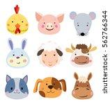 vector set of cute farm animals ...   Shutterstock .eps vector #562766344