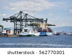 ship docked in port of santos   Shutterstock . vector #562770301