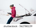 young woman calling for help or ... | Shutterstock . vector #562780159